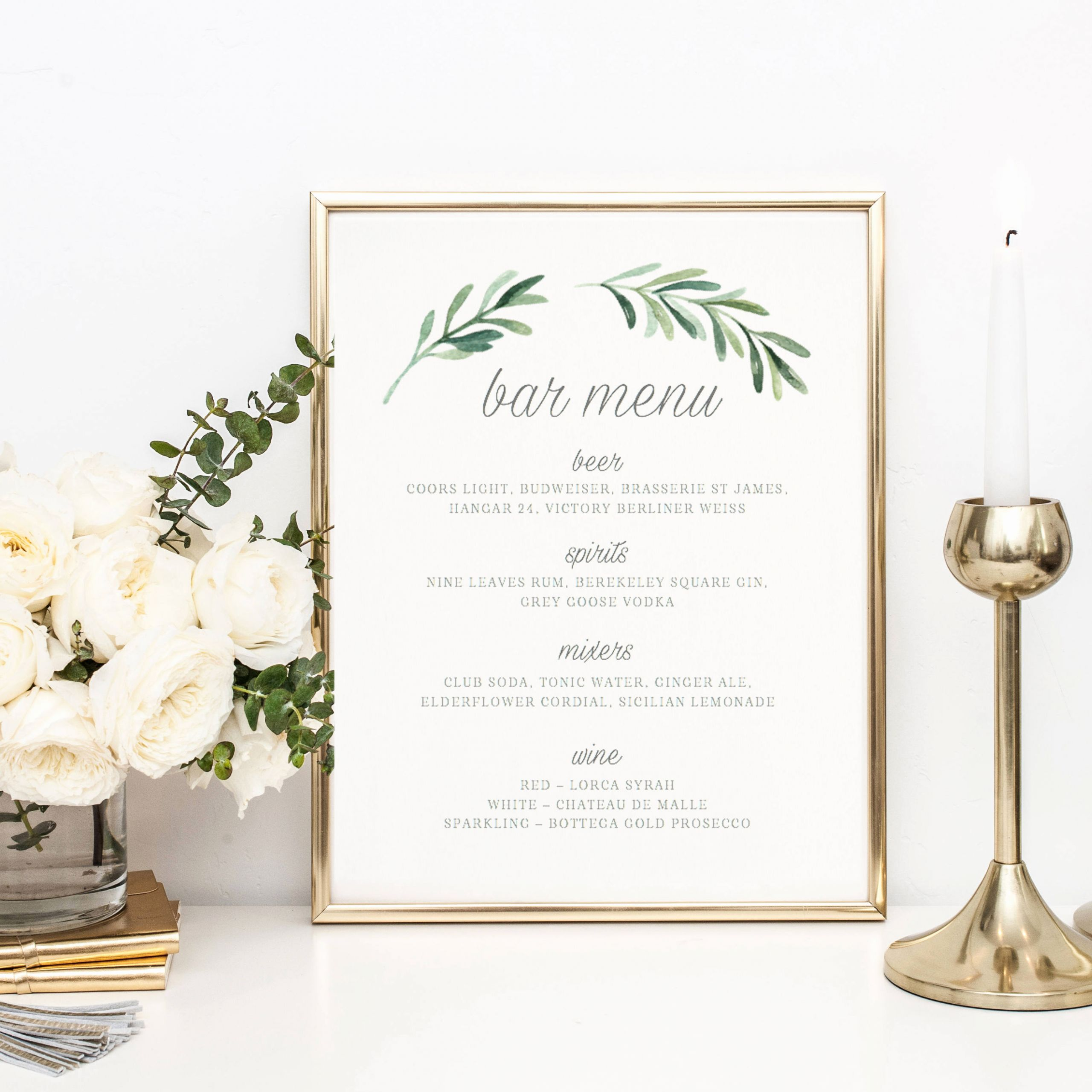 Wedding Drink Menu Template Beautiful Wedding Bar Menu Template Drink Sign Printable Bar Menu