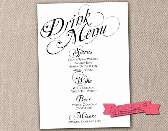 Wedding Drink Menu Template Best Of Items Similar to Printable Drink Menu Card Diy Wedding