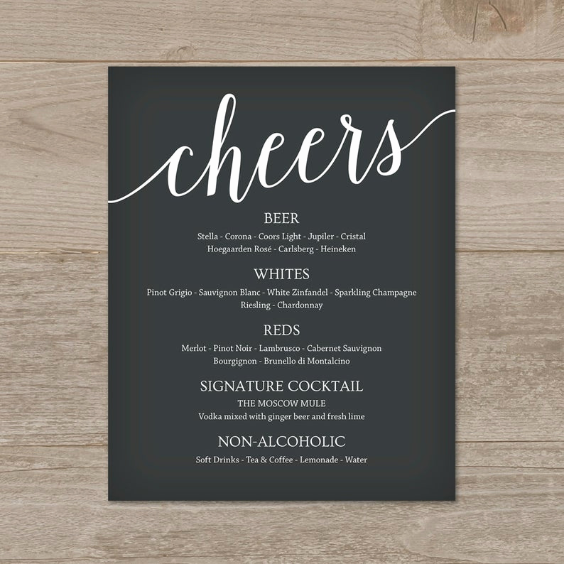 Wedding Drink Menu Template Best Of Wedding Drink Menu Template Bar Menu Wedding Wedding Menu