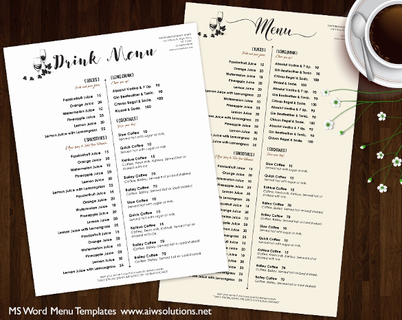 Wedding Drink Menu Template Elegant 37 Wedding Menu Template – Free Sample Example format