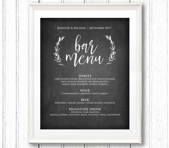 Wedding Drink Menu Template Elegant Bar Menu Sign Printable Wedding Sign Rustic Chalkboard
