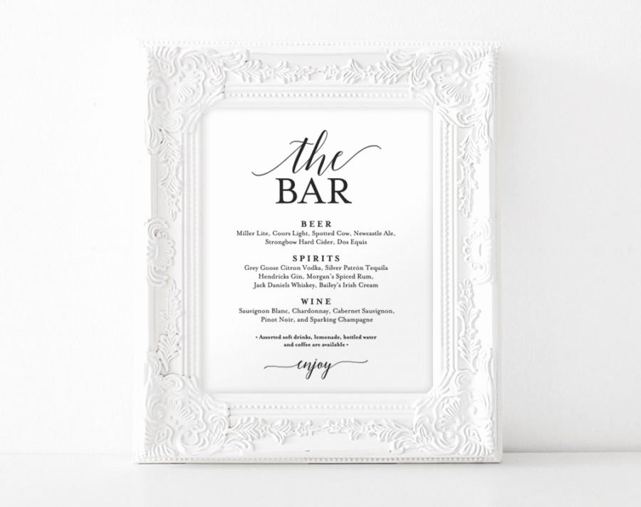 Wedding Drink Menu Template Inspirational Bar Menu Sign the Bar Sign Wedding Bar Menu Printable