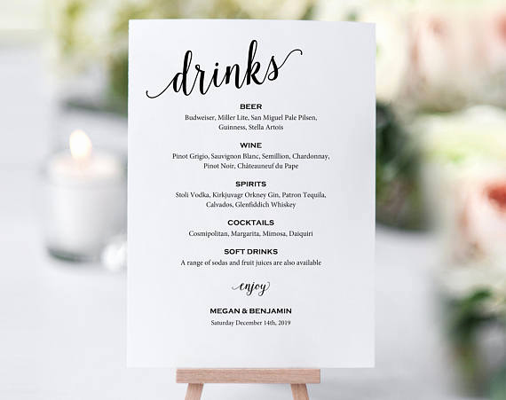Wedding Drink Menu Template Inspirational Bar Menu Sign Wedding Bar Sign Bar Sign Wedding Bar Menu