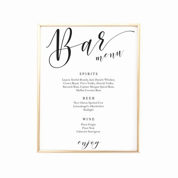 Wedding Drink Menu Template Inspirational Script Bar Sign Template Wedding Bar Menu Signs Signature