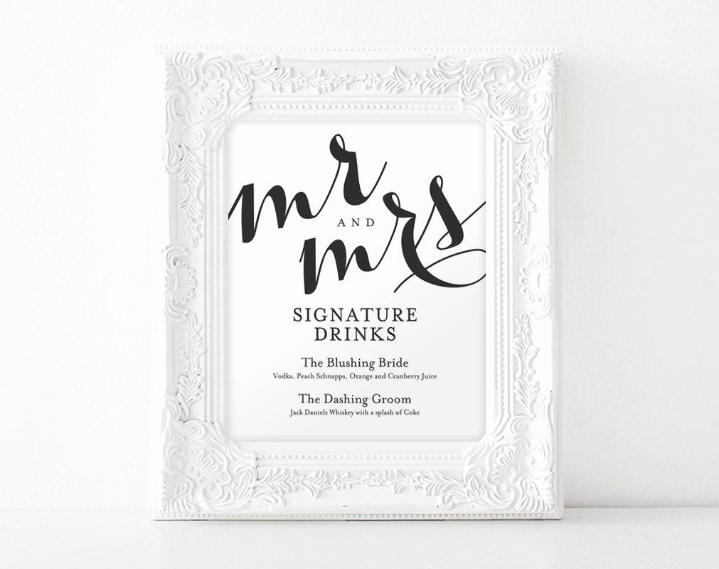 Wedding Drink Menu Template Lovely Signature Drink Sign Signature Drinks Printable Wedding