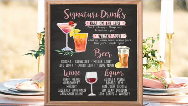 Wedding Drink Menu Template Luxury 9 Chalkboard Wedding Menu Templates Psd Ai