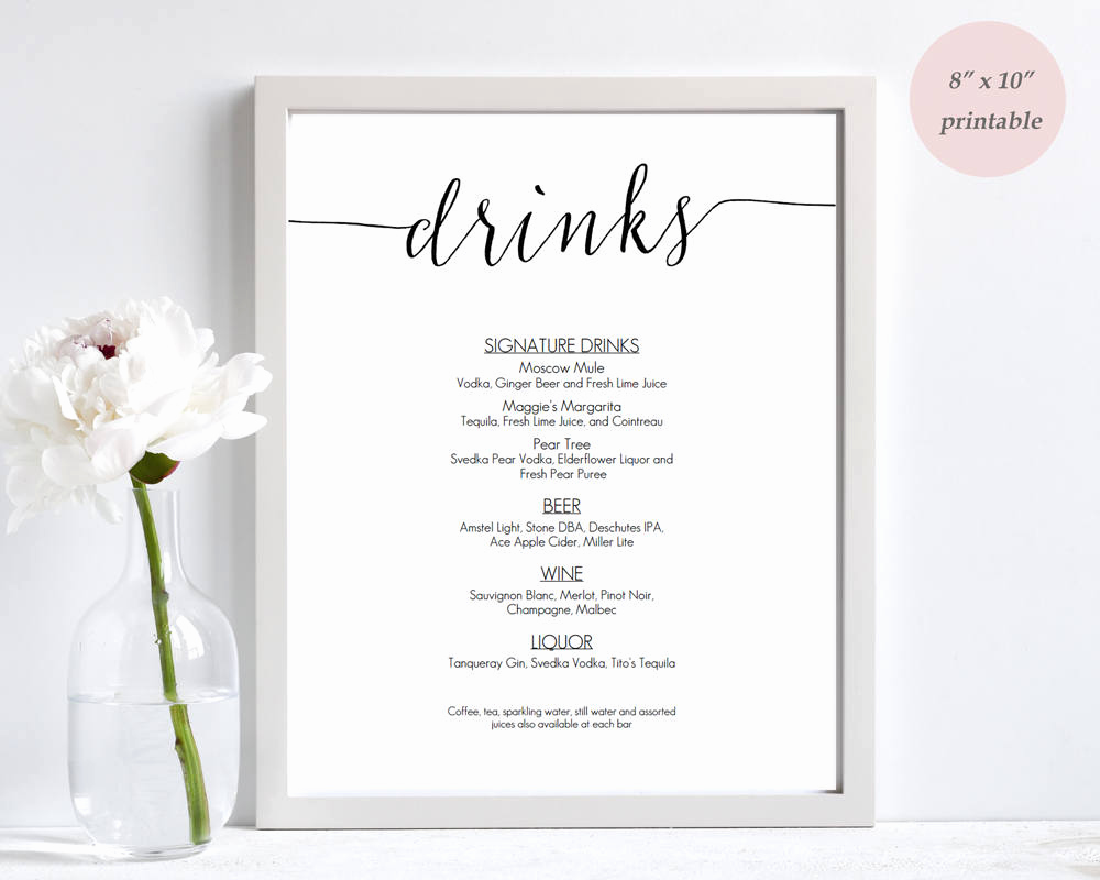 Wedding Drink Menu Template Luxury Drinks Menu Template Printable Wedding Bar Sign Editable