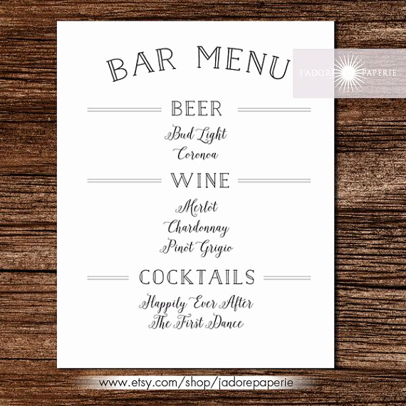 Wedding Drink Menu Template Luxury Printable Wedding Menu Card Blush Calligraphy