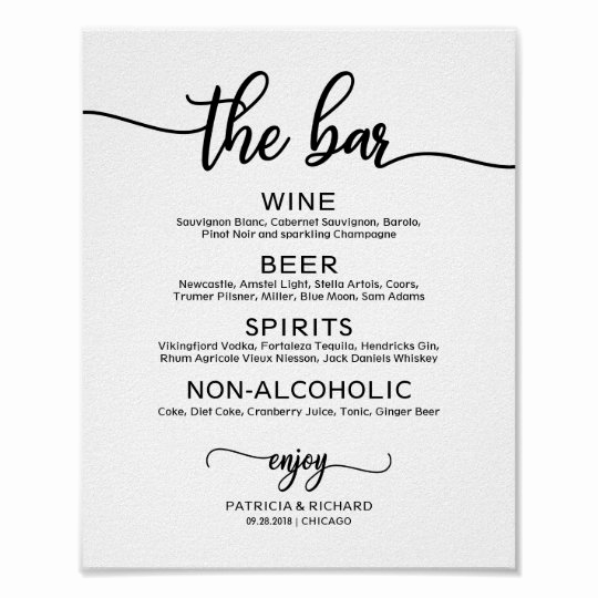 Wedding Drink Menu Template New Wedding Bar Menu Sign Rustic Chic Calligraphy