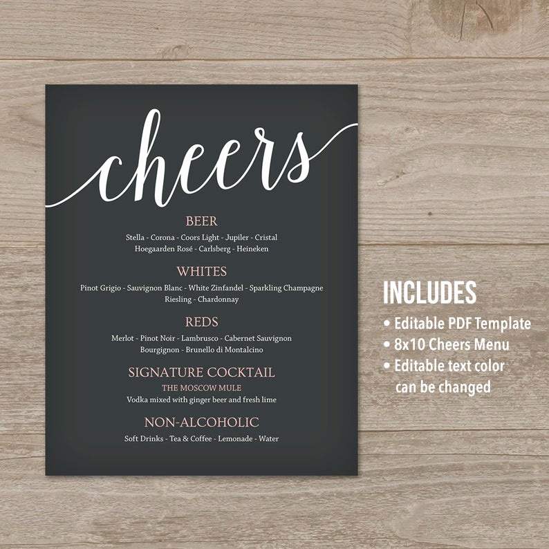 Wedding Drink Menu Template New Wedding Drink Menu Template Bar Menu Wedding Wedding Menu