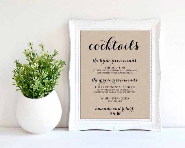 Wedding Drink Menu Template Unique Signature Cocktail Sign Wedding Drink Menu Printable