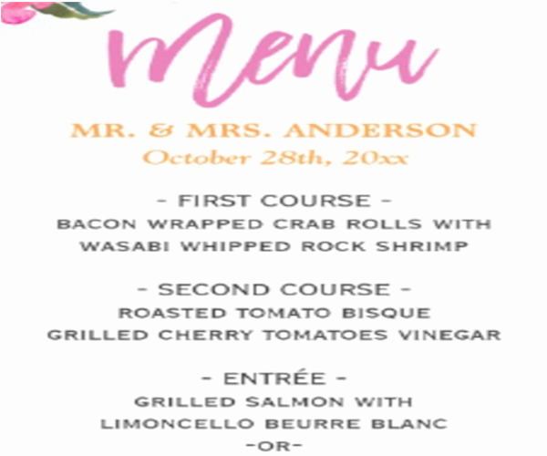 Wedding Menu Template Free Download Awesome 10 Wedding Menu Templates Free Download
