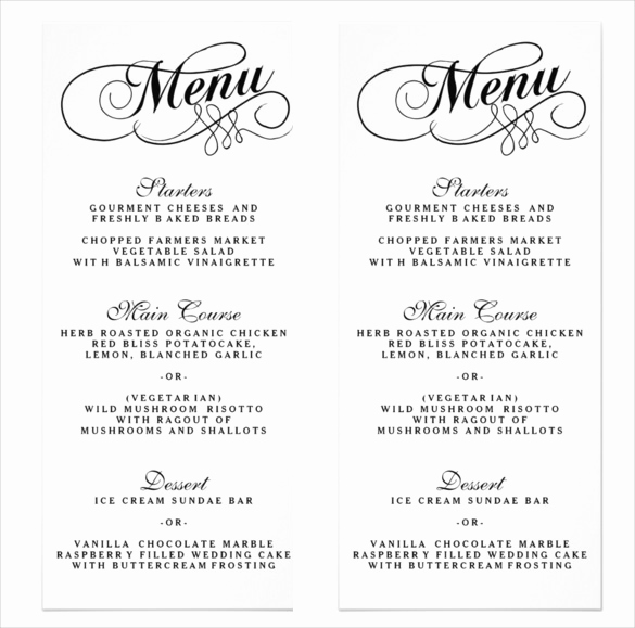 Wedding Menu Template Free Download Awesome 36 Wedding Menu Templates Ai Psd Google Docs Apple