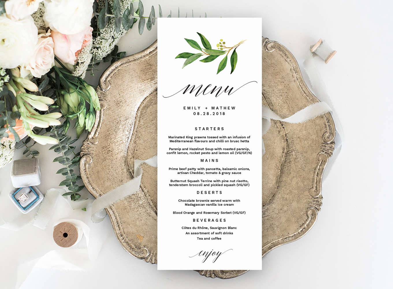 Wedding Menu Template Free Download Awesome Wedding Menu Editable Template – Free Print Templates