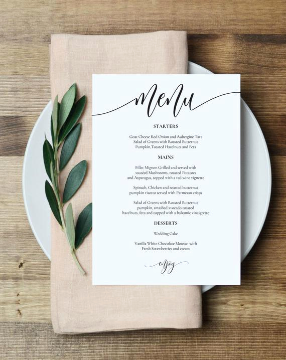 Wedding Menu Template Free Download Awesome Wedding Menu Template Printable Menu Card 5x7 Wedding