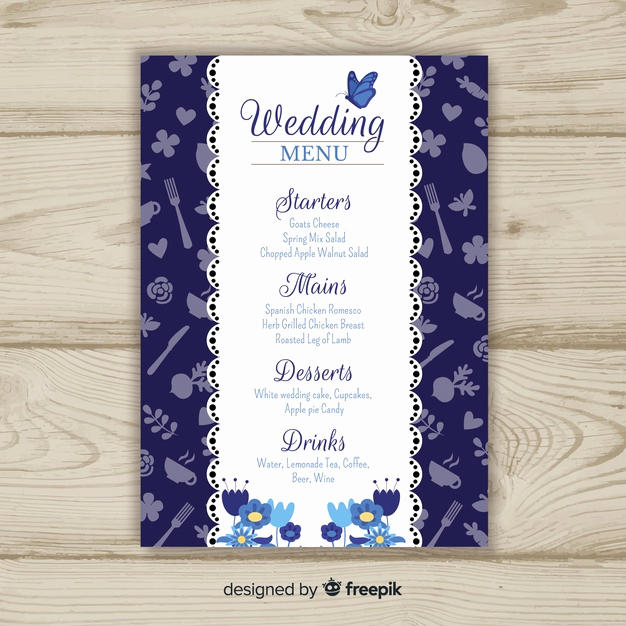 Wedding Menu Template Free Download Awesome Wedding Menu Template Vector