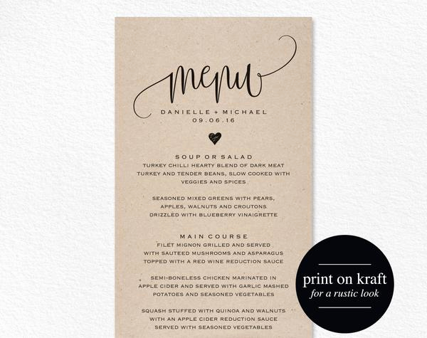 Wedding Menu Template Free Download Elegant Rustic Wedding Menu Wedding Menu Template Menu Cards