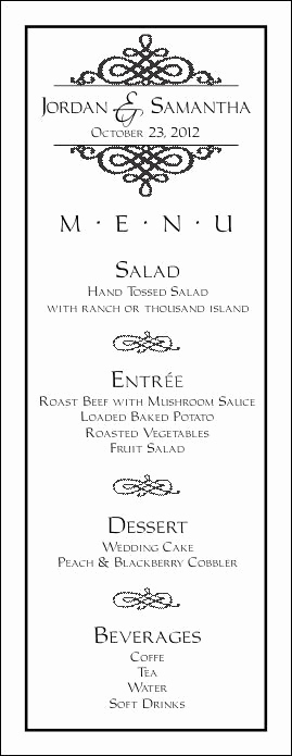 Wedding Menu Template Free Download Fresh Wedding Menu Template 6