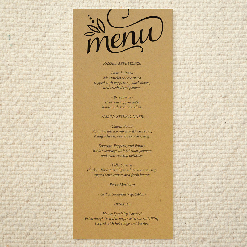 Wedding Menu Template Free Download Luxury Diy Kraft Paper Wedding Menu – Love & Cherish Script