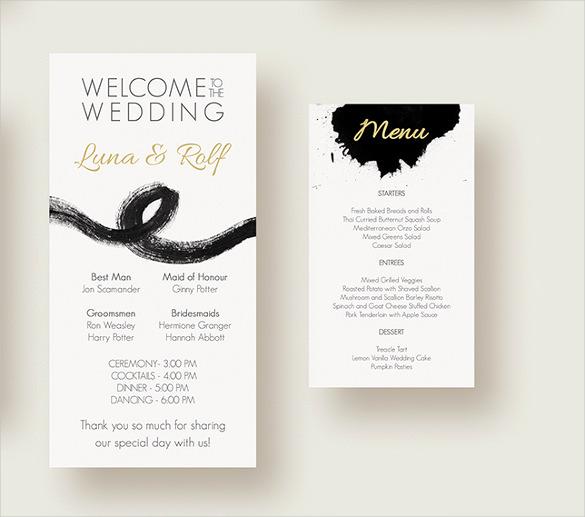 Wedding Menu Template Free Download Unique 37 Wedding Menu Template – Free Sample Example format