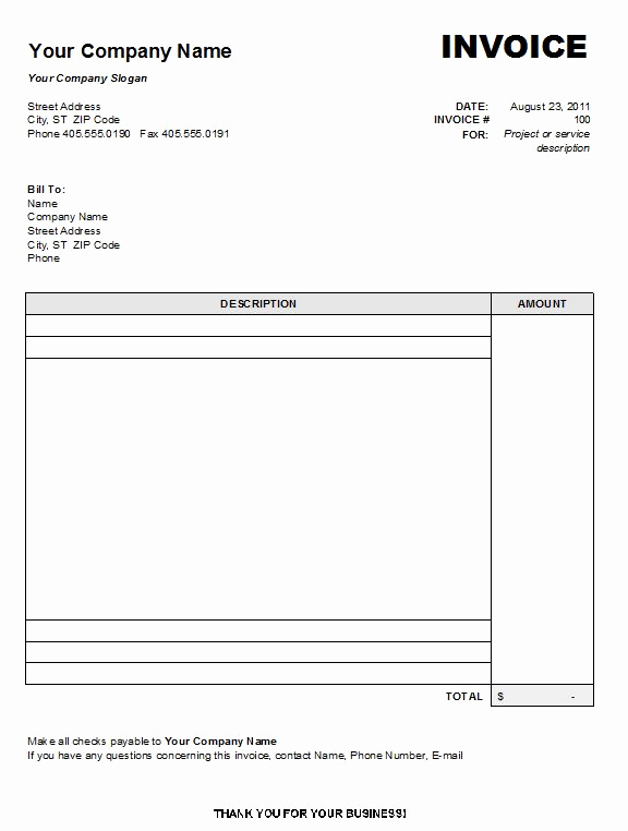 Word Document Invoice Template New Blank Invoice Template 8