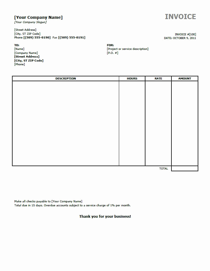 Word Invoice Template Free Beautiful Free Invoice Templates for Word Excel Open Fice
