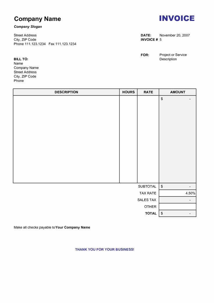 Word Invoice Template Free Elegant Blank Billing Invoice Scope Of Work Template