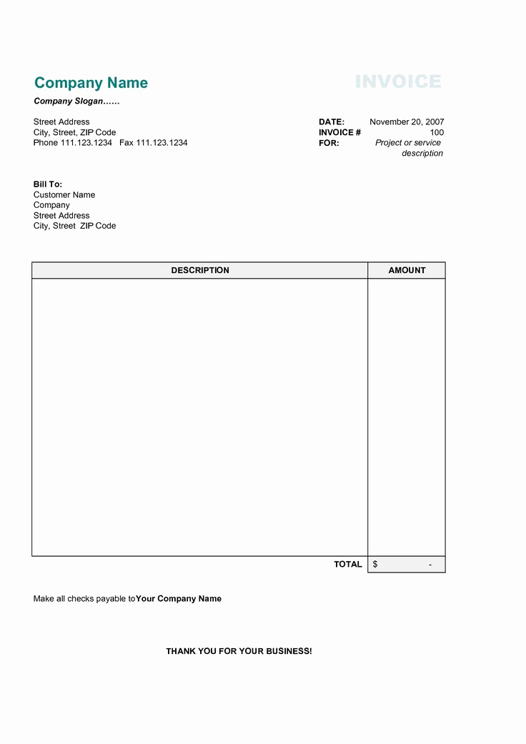 Word Invoice Template Free Fresh 17 Best Photos Of Printable Mercial Invoice Sample