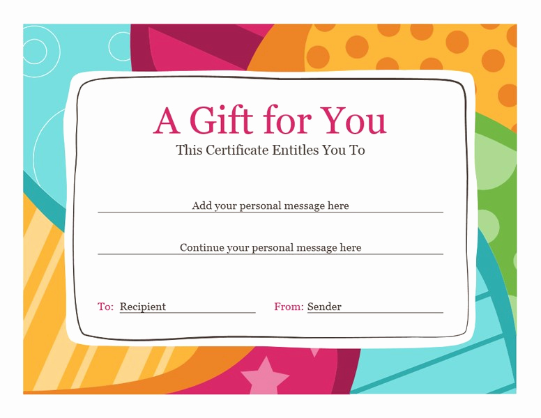 Word Template Gift Certificate Beautiful Birthday T Certificate Bright Design