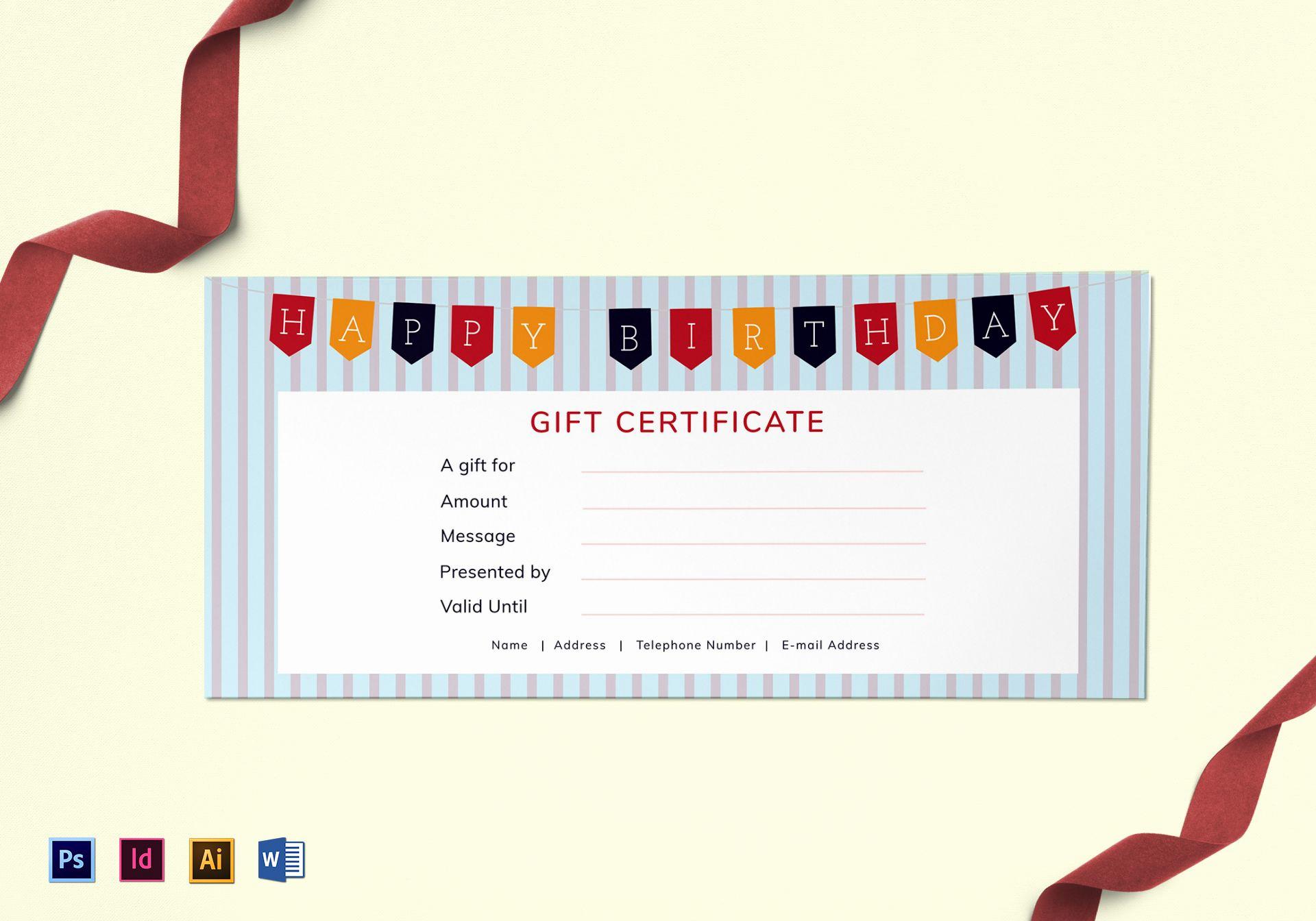 happy birthday t certificate
