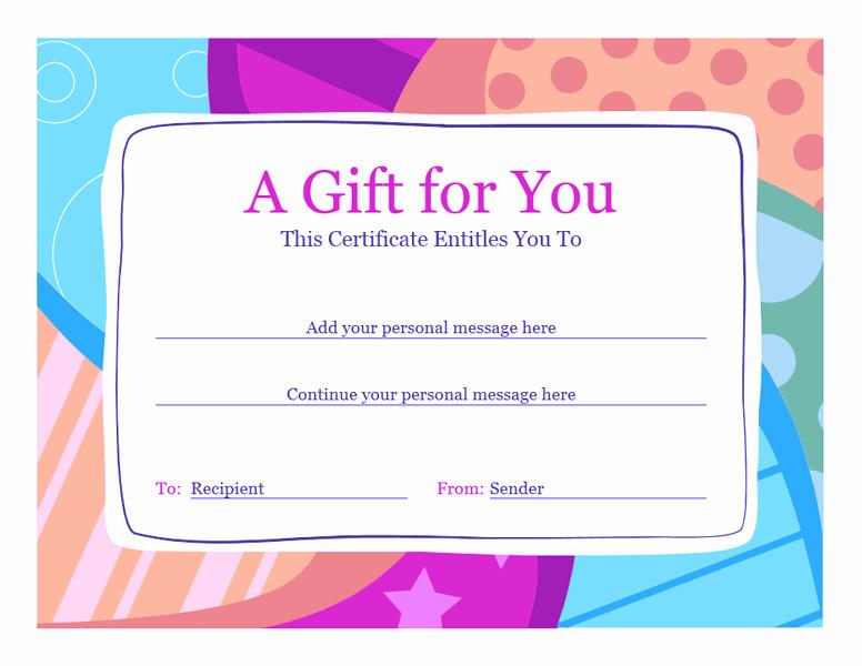 Word Template Gift Certificate Elegant Birthday Gift Certificate Template Word 2010 Free