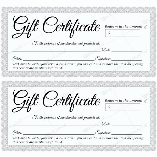 Word Template Gift Certificate Fresh Gift Certificate 30