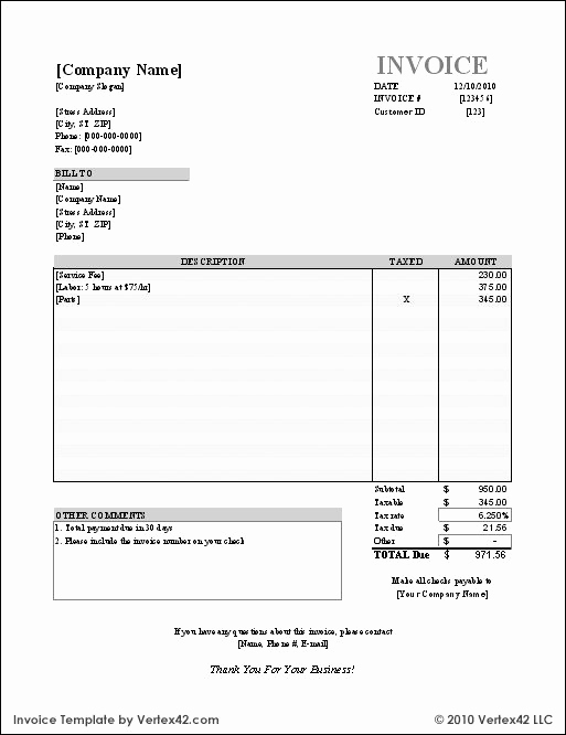 Work Invoice Template Word Elegant Free Small Business Labor Invoices