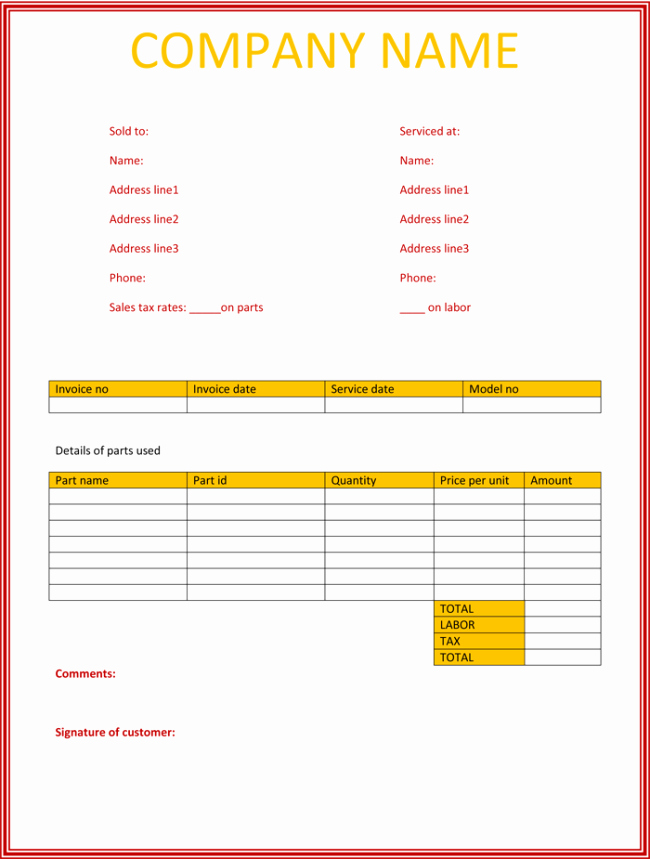 Work Invoice Template Word Luxury 5 Service Invoice Templates for Word and Excel