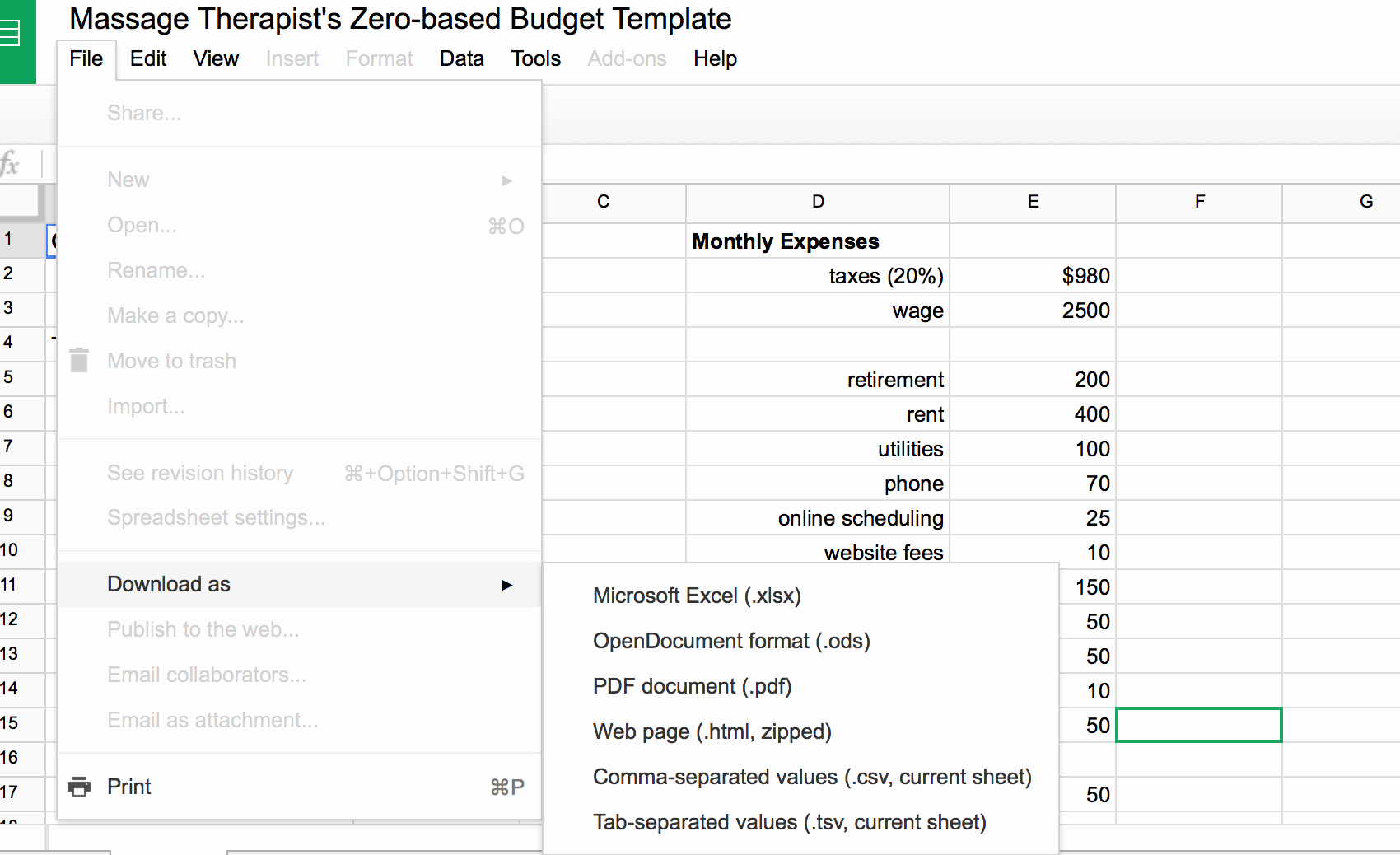 Zero Based Budgeting Template Lovely How to Operate Your Massage Practice On A Zero Based
